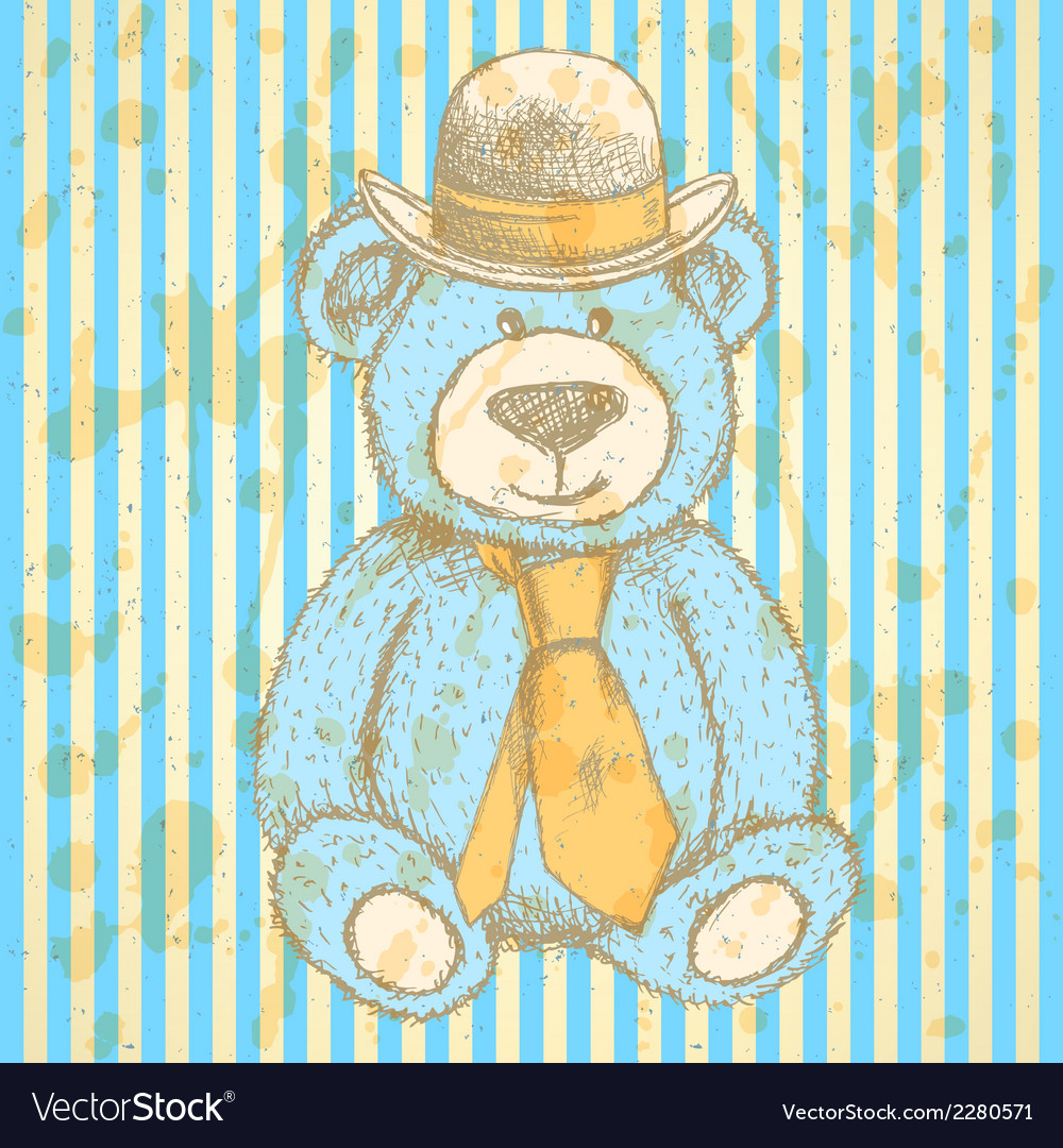 Teddy hat tie vector | Price: 1 Credit (USD $1)