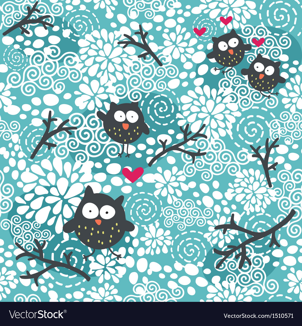 Winter seamless pattern with owls and snow vector | Price: 1 Credit (USD $1)