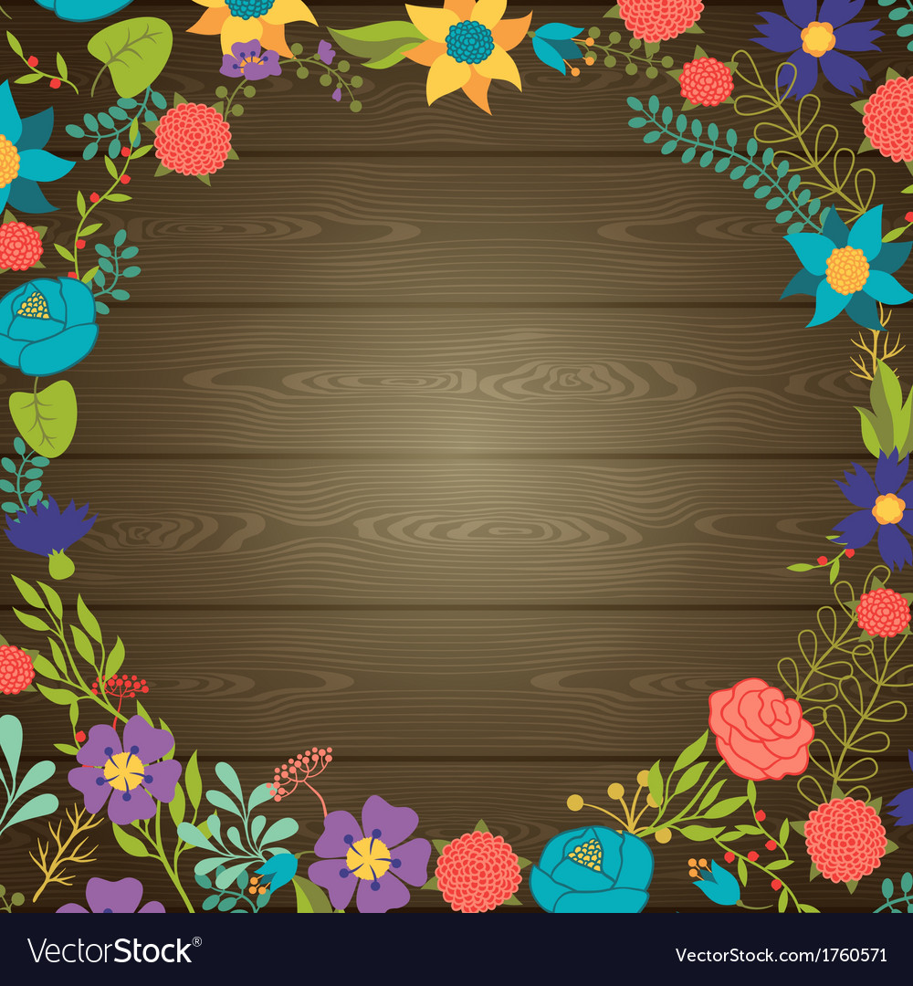 Wood texture background with various flowers vector | Price: 1 Credit (USD $1)