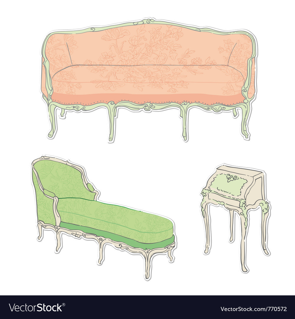 Antique rococo sofa vector | Price: 1 Credit (USD $1)