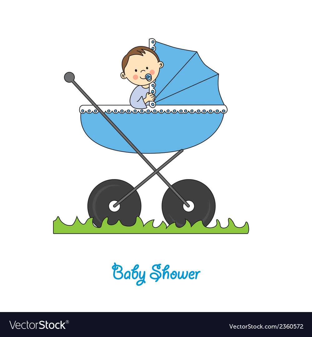 Baby boy in carriage vector | Price: 1 Credit (USD $1)