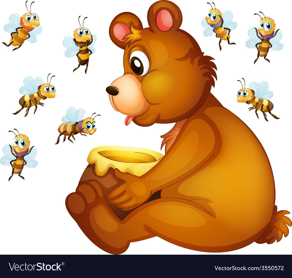 Bear and bees vector | Price: 3 Credit (USD $3)