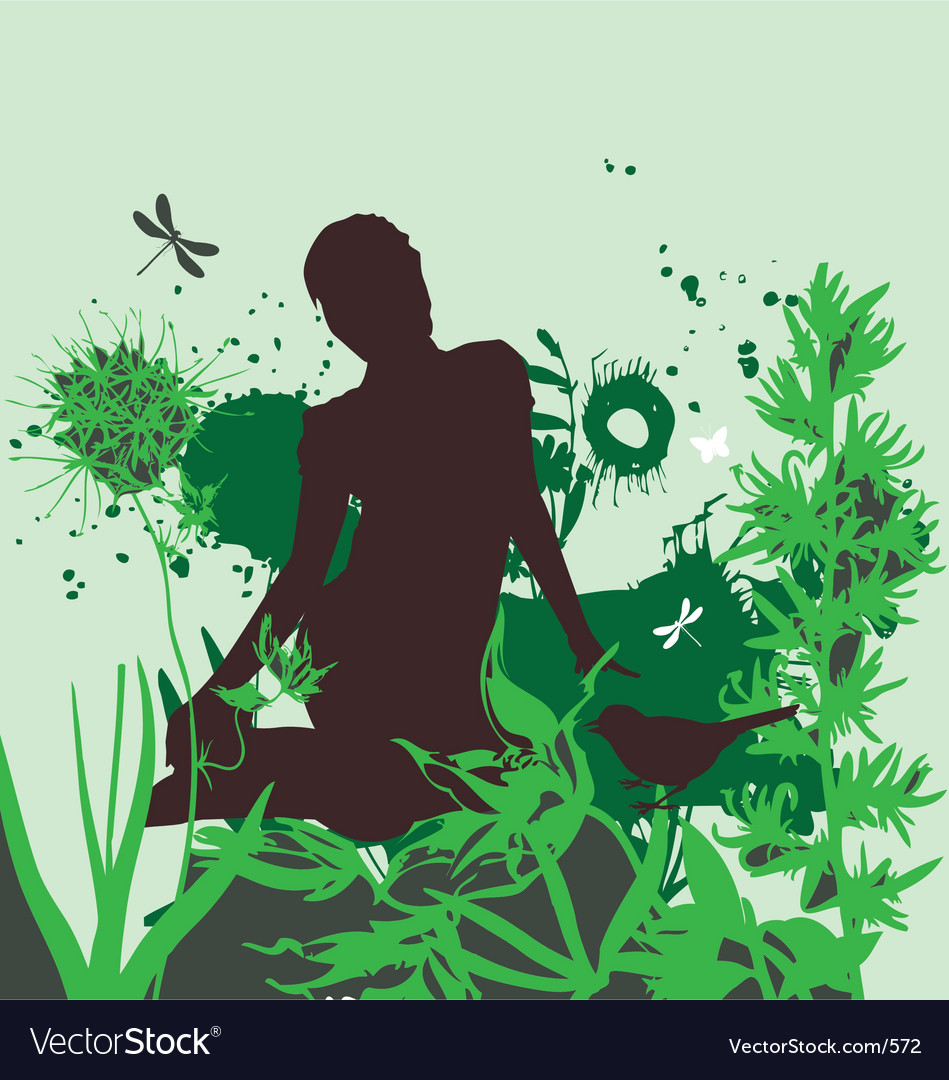 The girl in the garden vector | Price: 1 Credit (USD $1)
