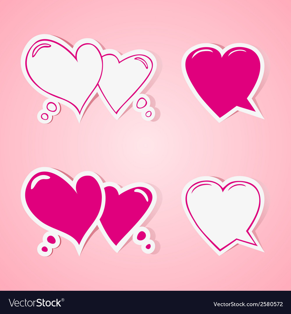 Heart shaped speech bubbles set vector | Price: 1 Credit (USD $1)
