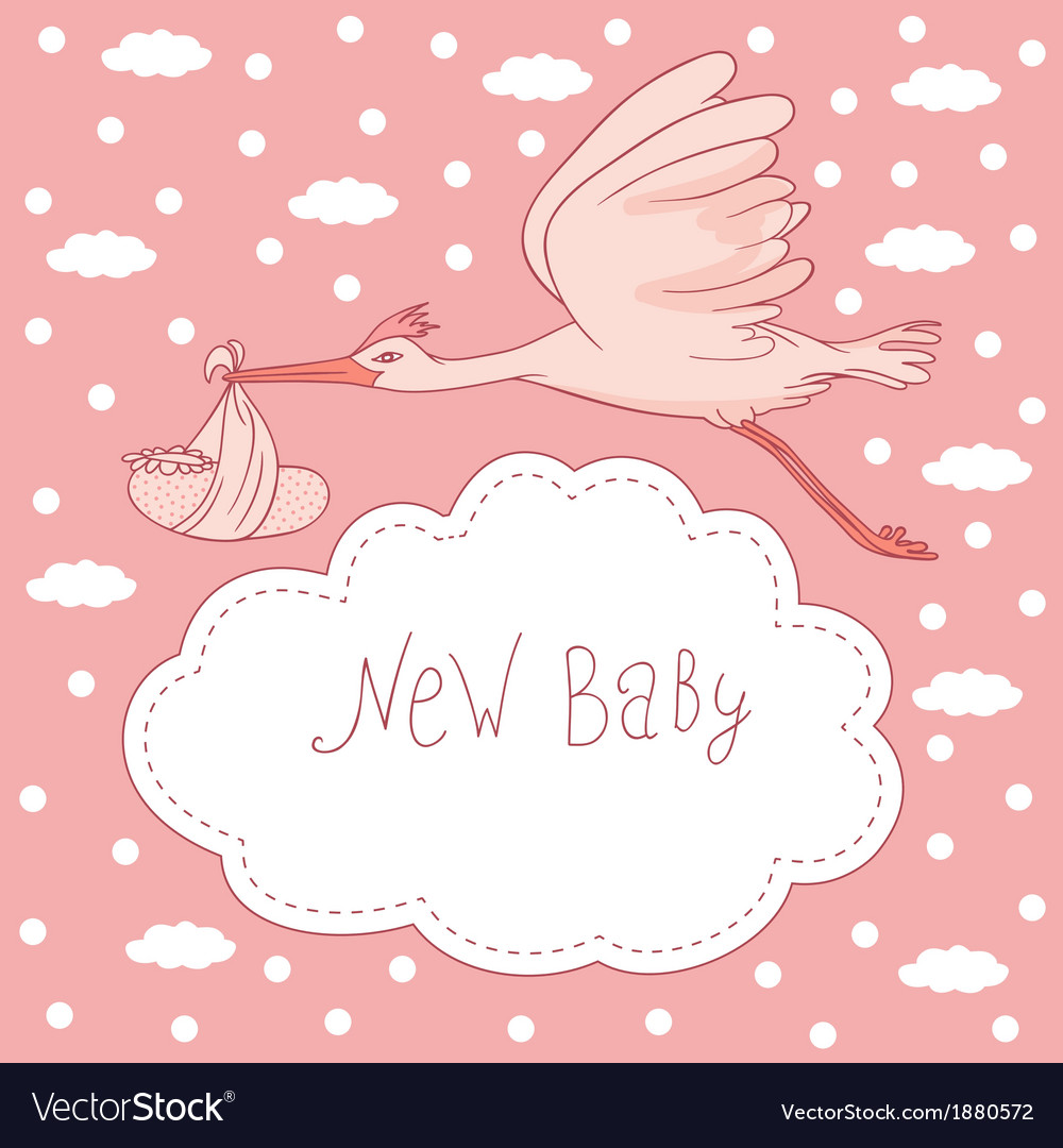 New baby stork flying with baby girl vector | Price: 1 Credit (USD $1)