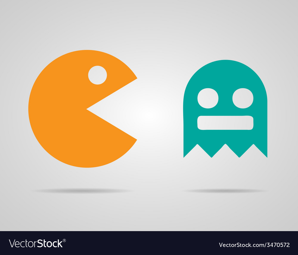 Pacman ghosts 8bit retro color game icons set  eps vector | Price: 1 Credit (USD $1)