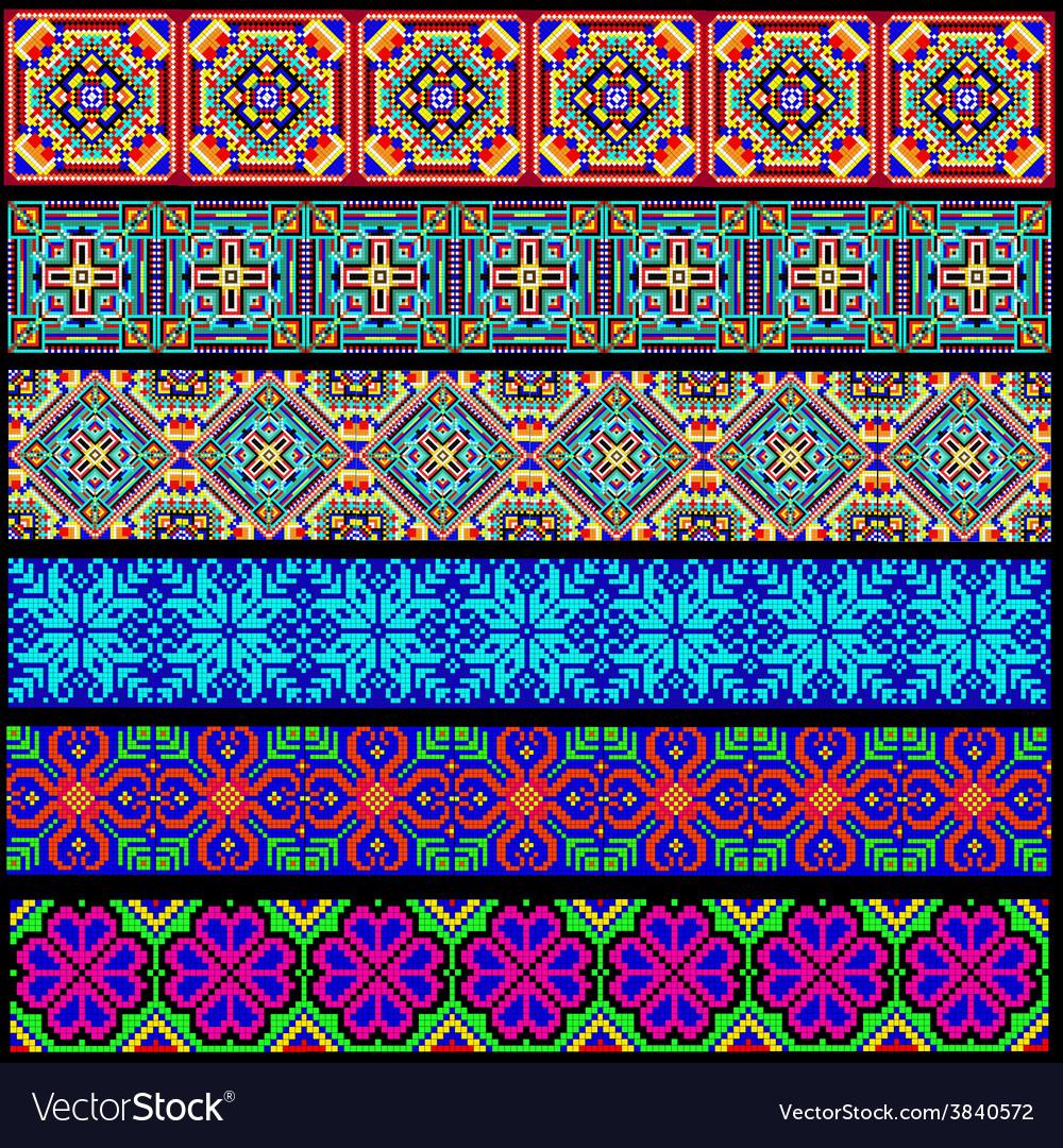 Set of ornamental braid strips of colored geometri vector | Price: 1 Credit (USD $1)