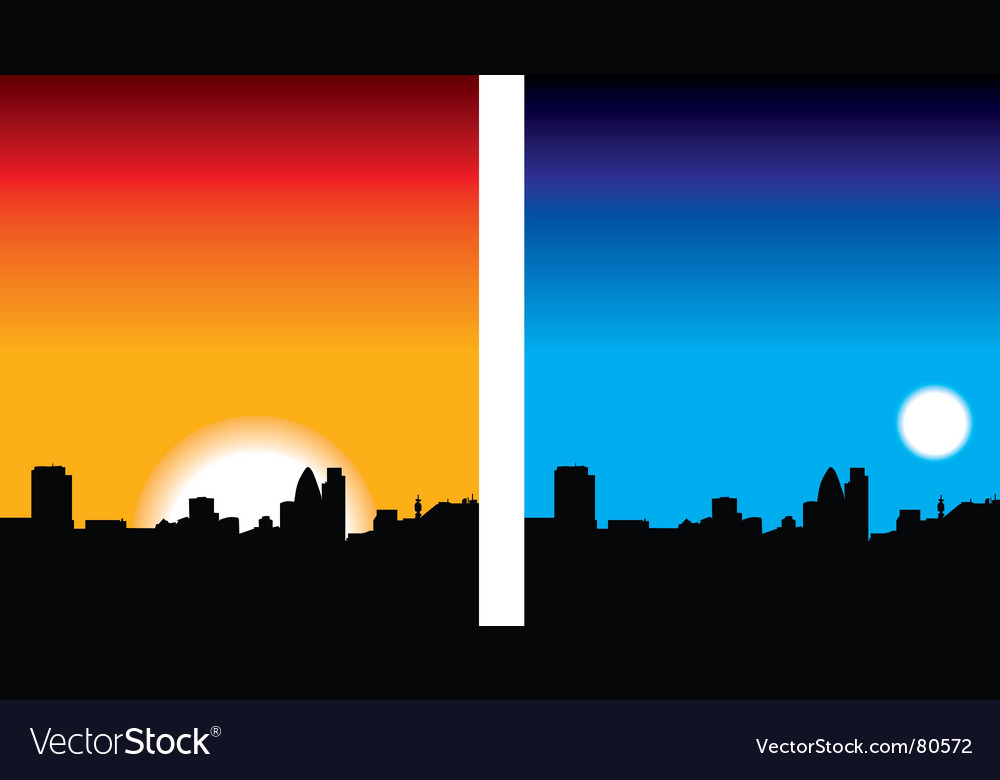 Skyline night and day vector | Price: 1 Credit (USD $1)
