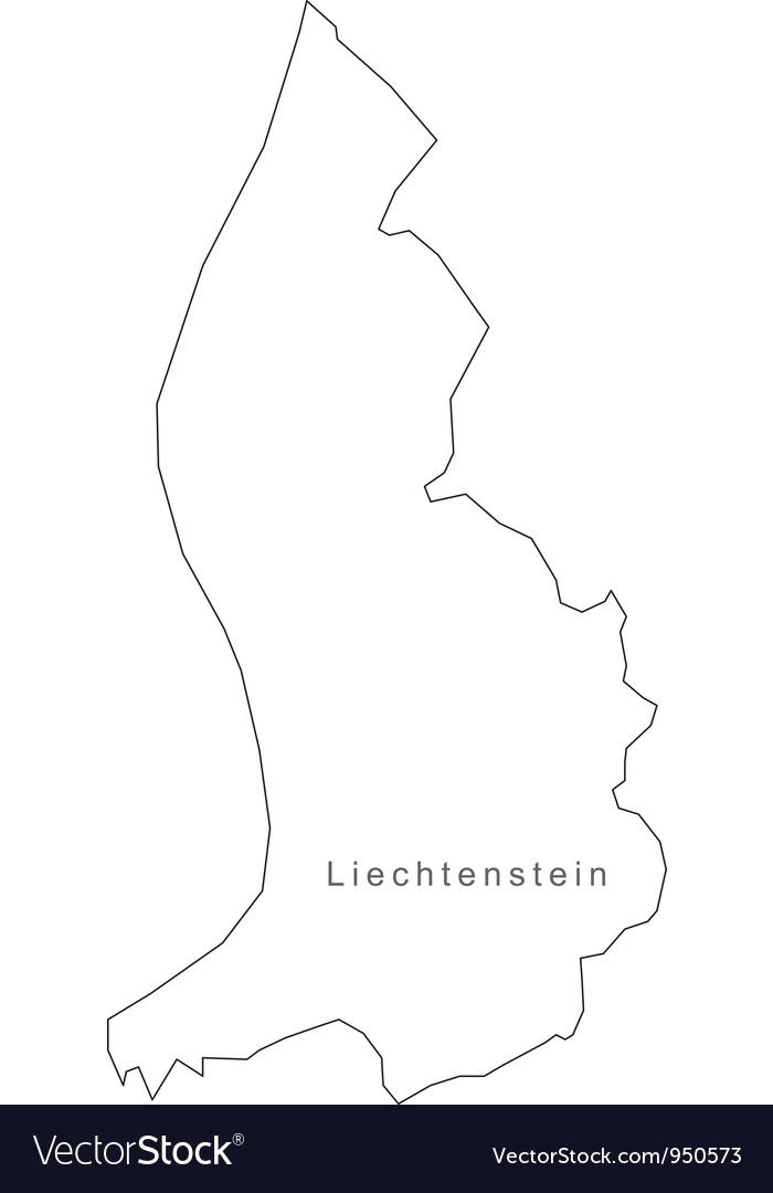Black white liechtenstein outline map vector | Price: 1 Credit (USD $1)