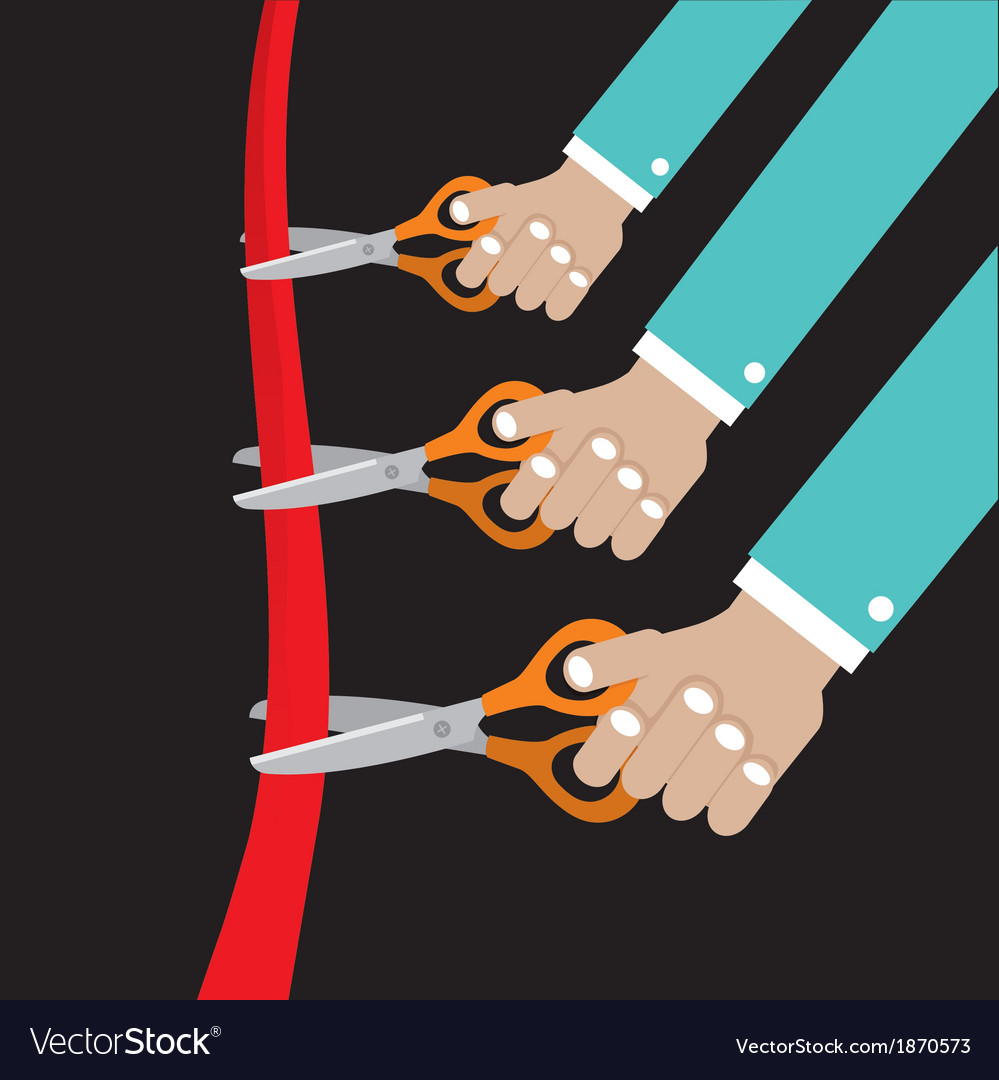 Cut ribbon opening ceremony vector | Price: 1 Credit (USD $1)