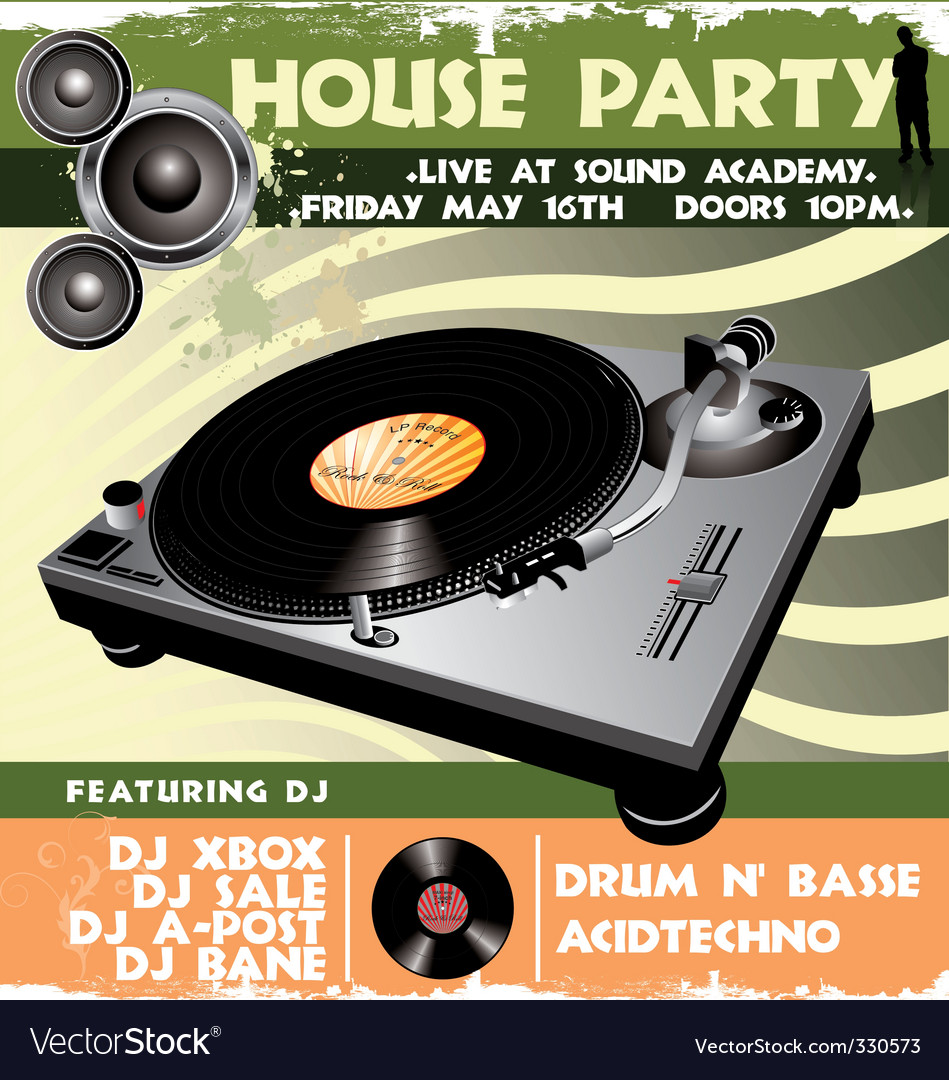 House party flyer vector   Price: 1 Credit (USD $1)