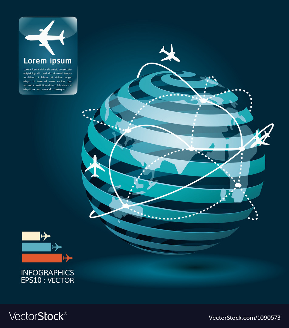 Infographic airplane network concept vector | Price: 1 Credit (USD $1)