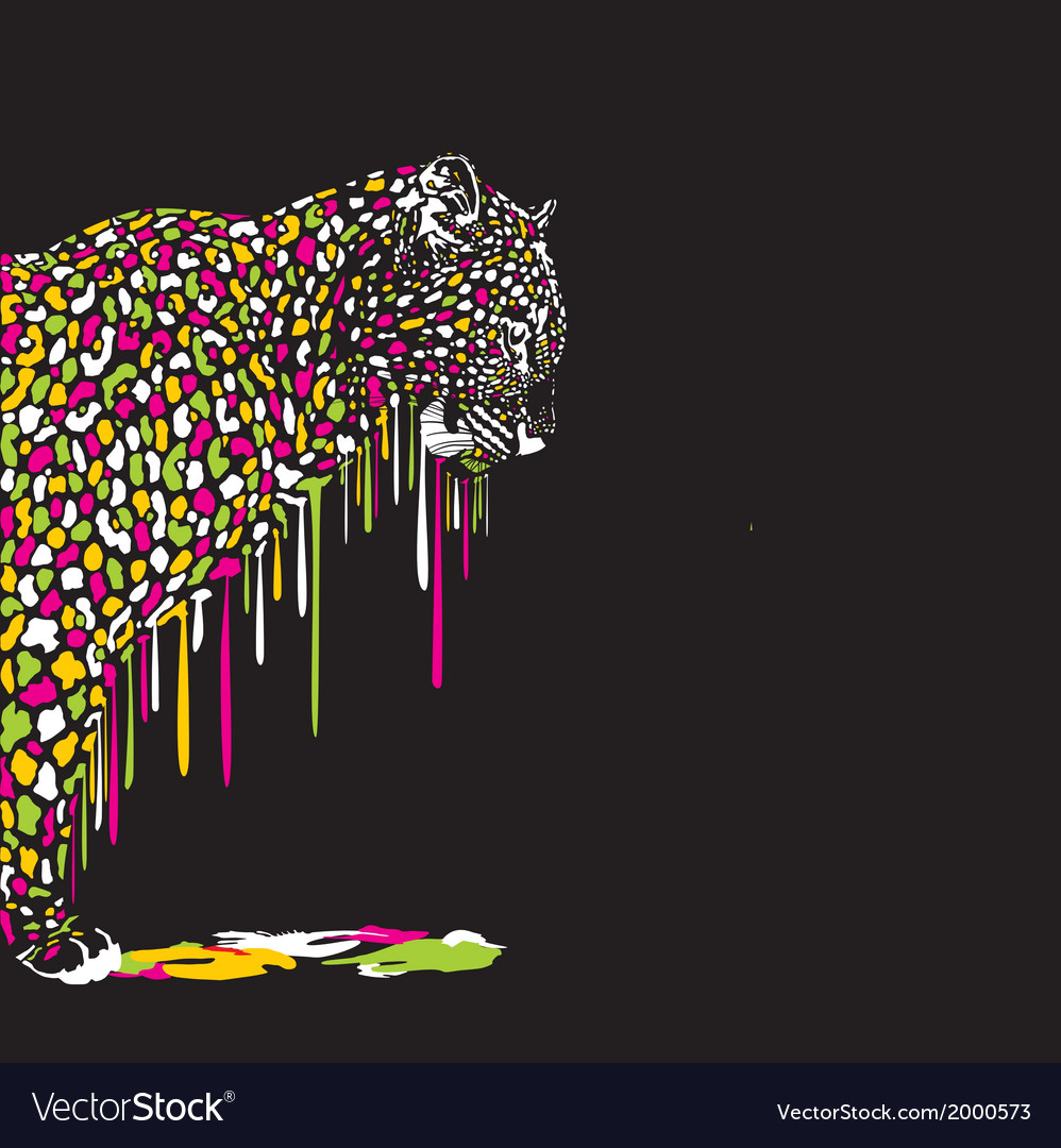 Leopard abstract painting on a black background vector | Price: 1 Credit (USD $1)