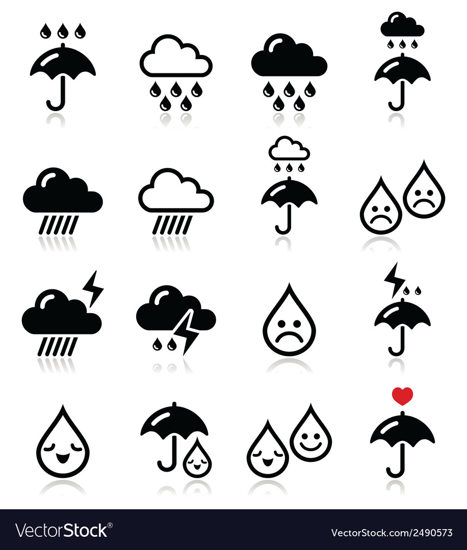 Rain thunderstorm heavy clouds icons set vector | Price: 1 Credit (USD $1)