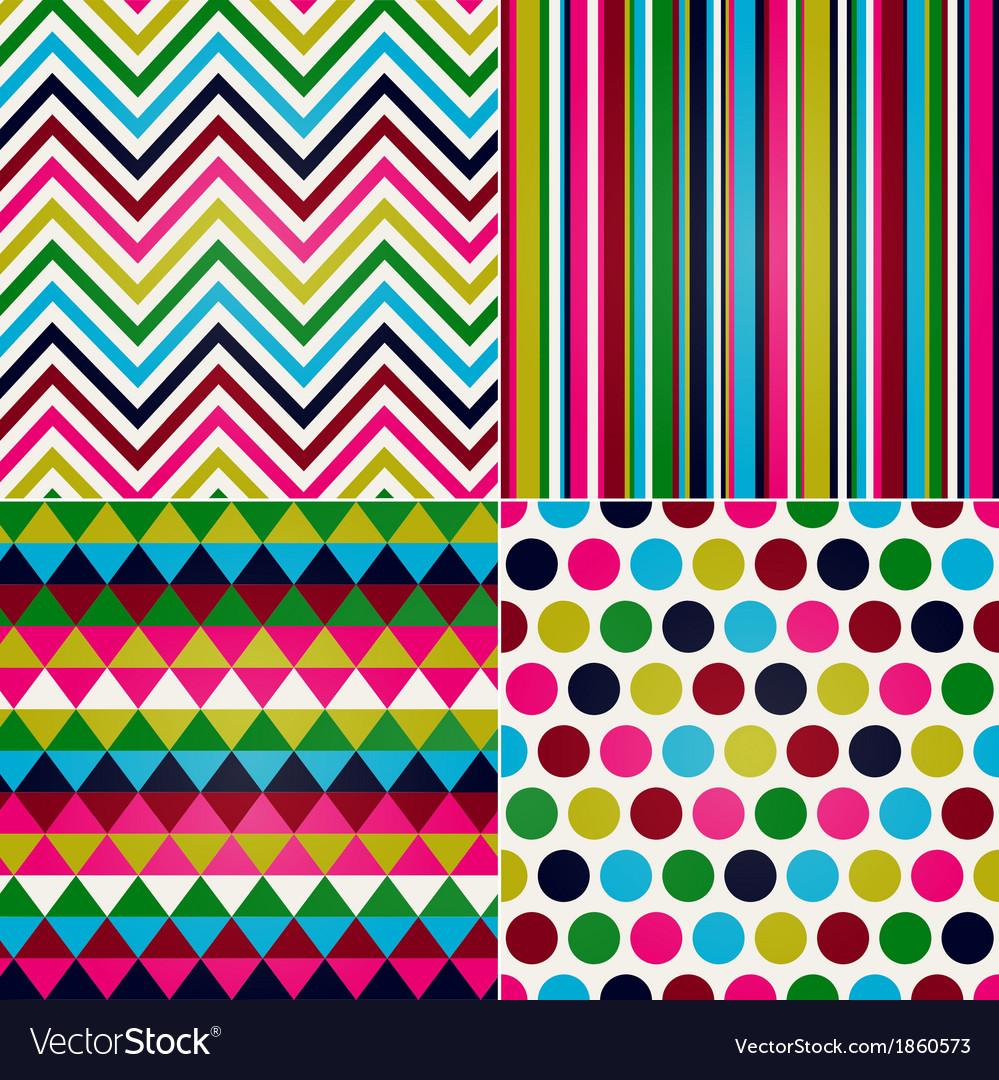 Seamless stripes zigzag polka dot vector | Price: 1 Credit (USD $1)