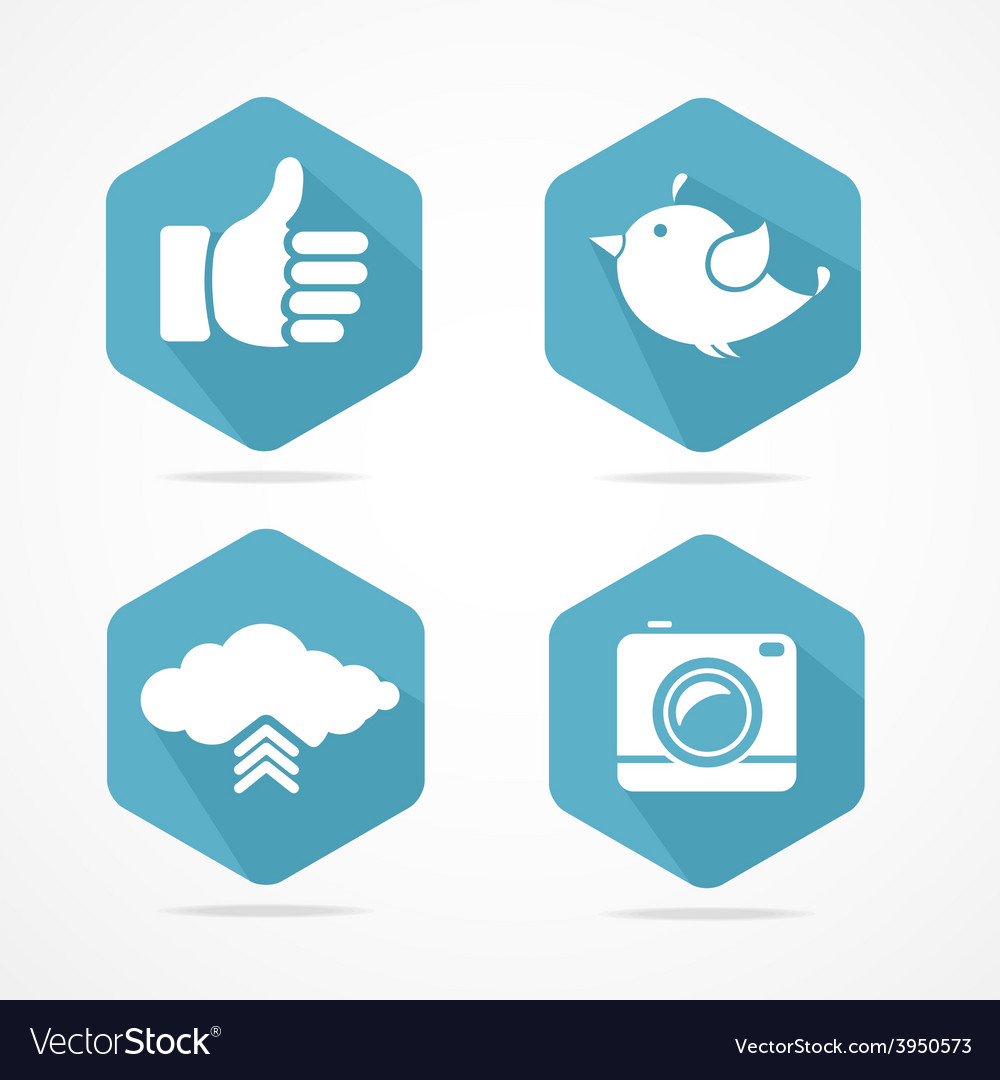 Social icons set flat design vector   Price: 1 Credit (USD $1)