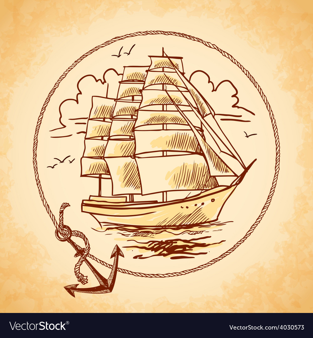 Tall ship emblem vector | Price: 1 Credit (USD $1)