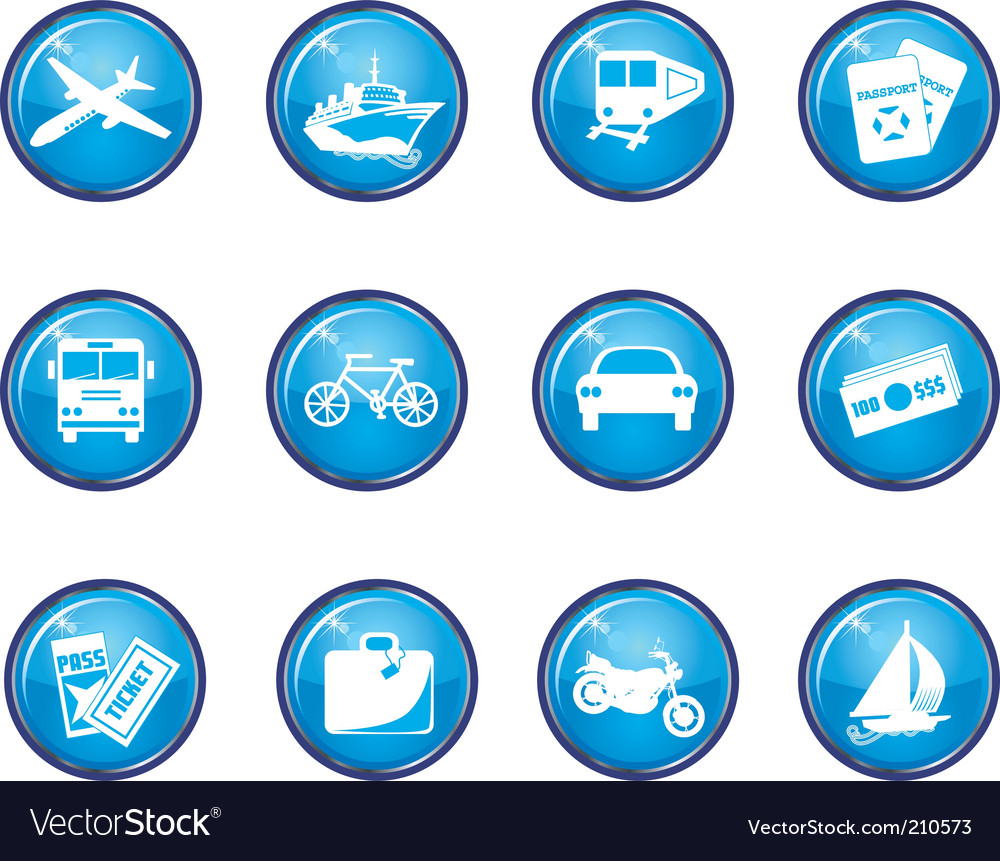 Travel button icons vector | Price: 1 Credit (USD $1)