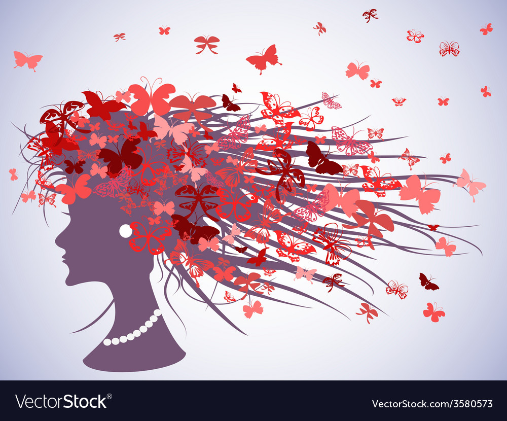 Woman profile with butterflies hair vector | Price: 1 Credit (USD $1)