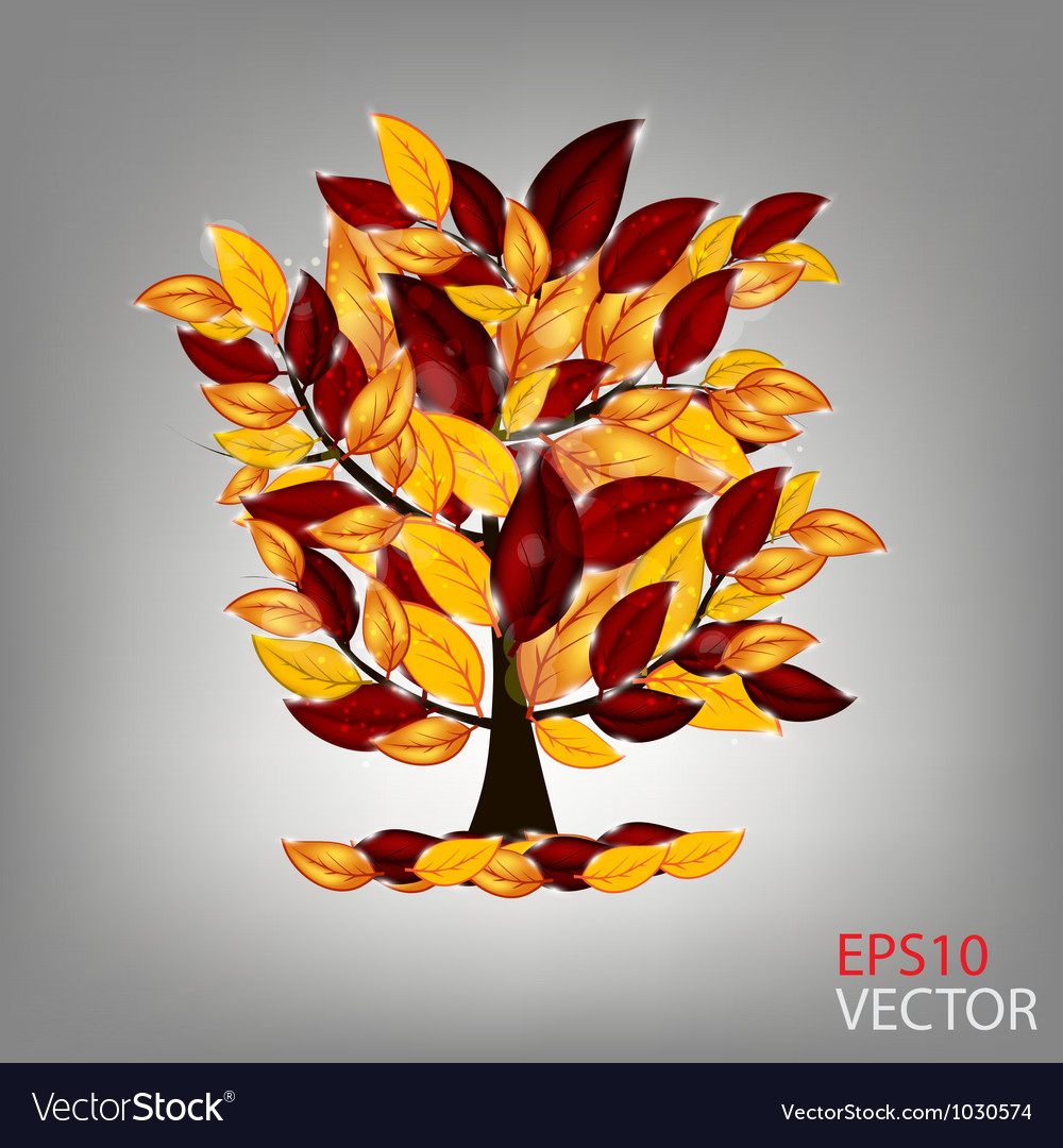 Autumn tree with colorful leaves vector | Price: 1 Credit (USD $1)