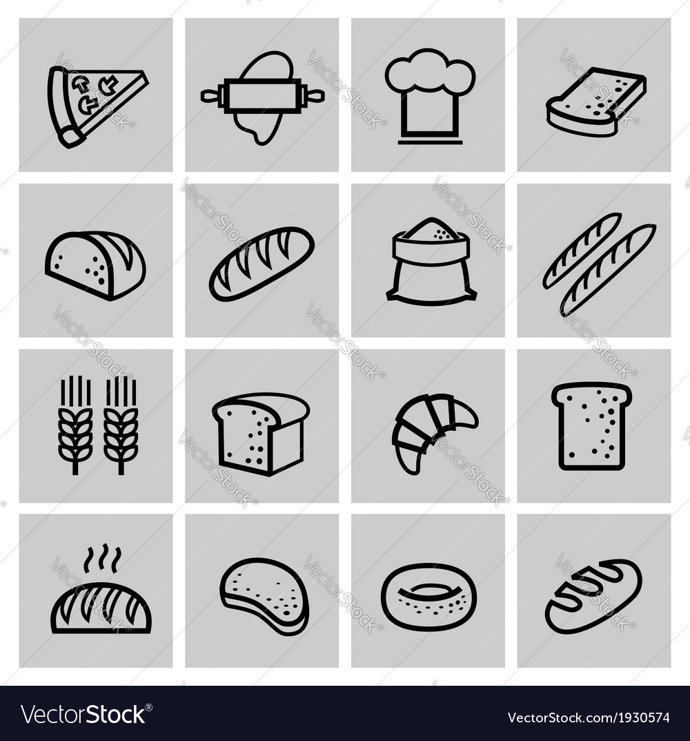Black bread icon set vector | Price: 1 Credit (USD $1)