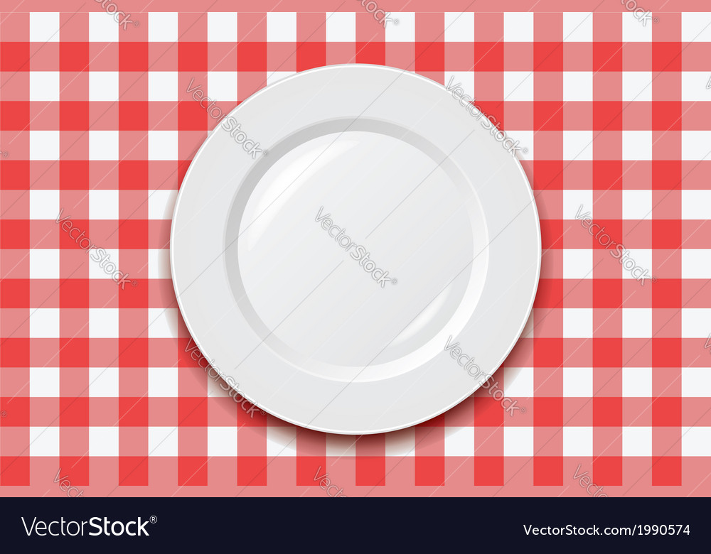 Cooking tablecloth and empty plate vector | Price: 1 Credit (USD $1)