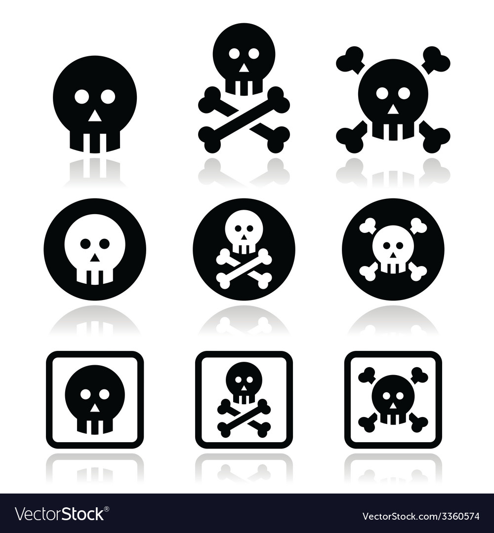 Death skull with bones icons set vector | Price: 1 Credit (USD $1)
