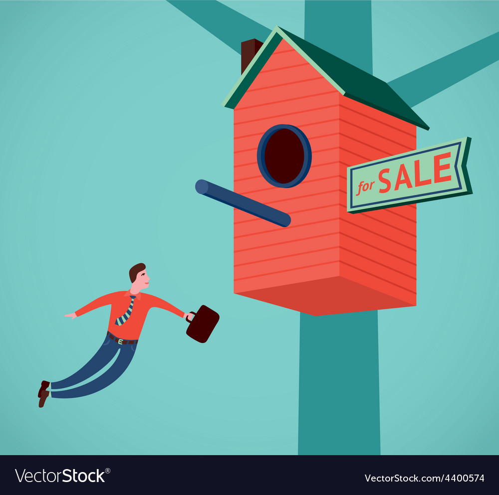 Flying real estate agent vector | Price: 1 Credit (USD $1)
