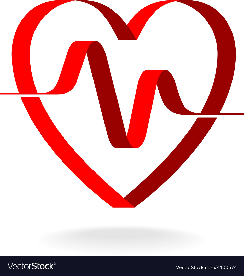 Heart with pulse ribbon logo template cardiology vector | Price: 1 Credit (USD $1)
