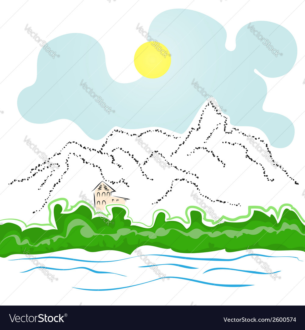 House by the river and mountains vector | Price: 1 Credit (USD $1)
