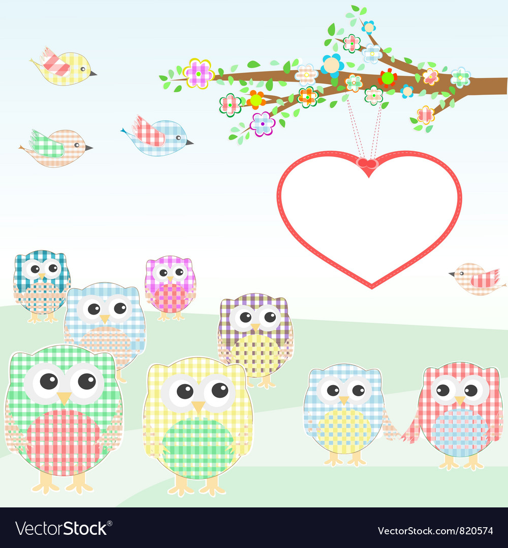 Owls and birds on tree branches nature element vector | Price: 1 Credit (USD $1)