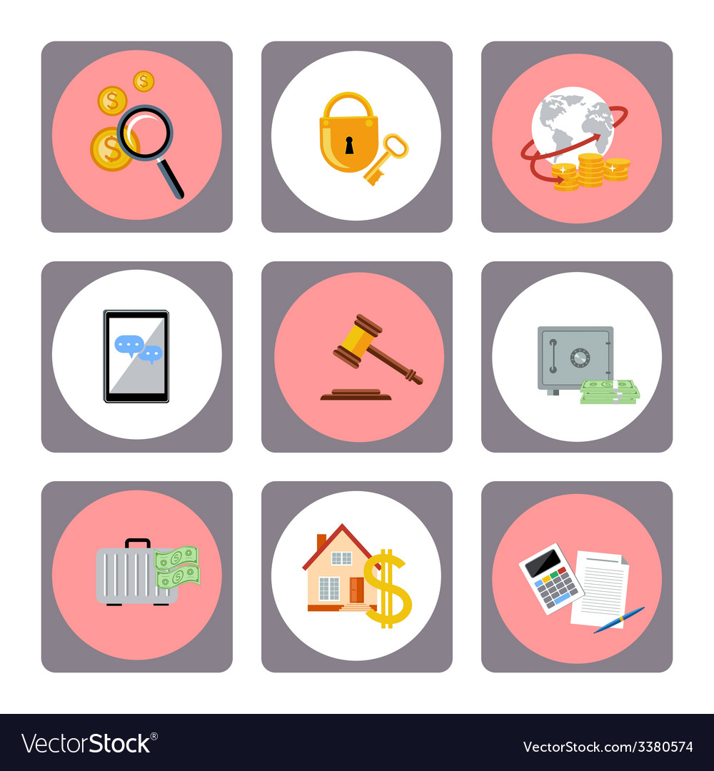 Set of money finance banking icons vector   Price: 1 Credit (USD $1)