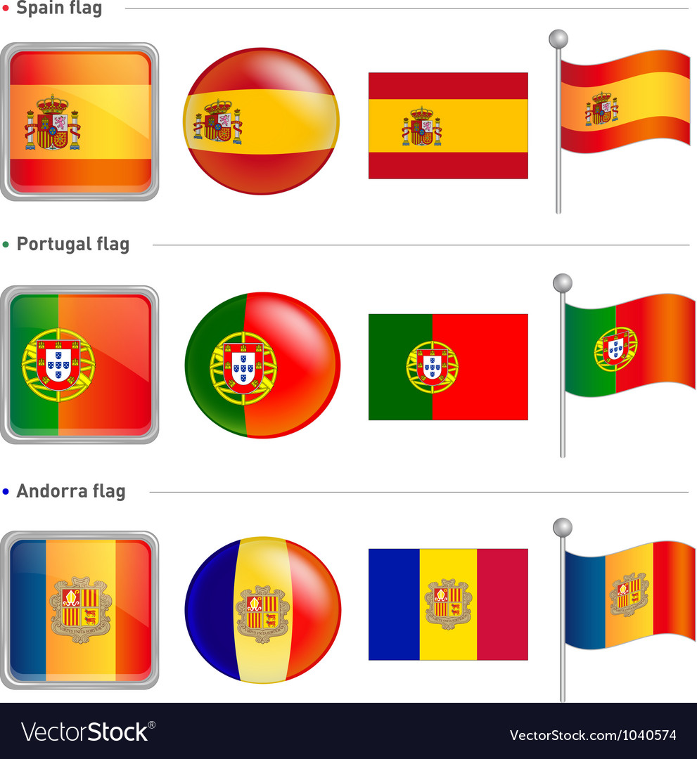 Spain portugal andorra flag icon vector | Price: 1 Credit (USD $1)