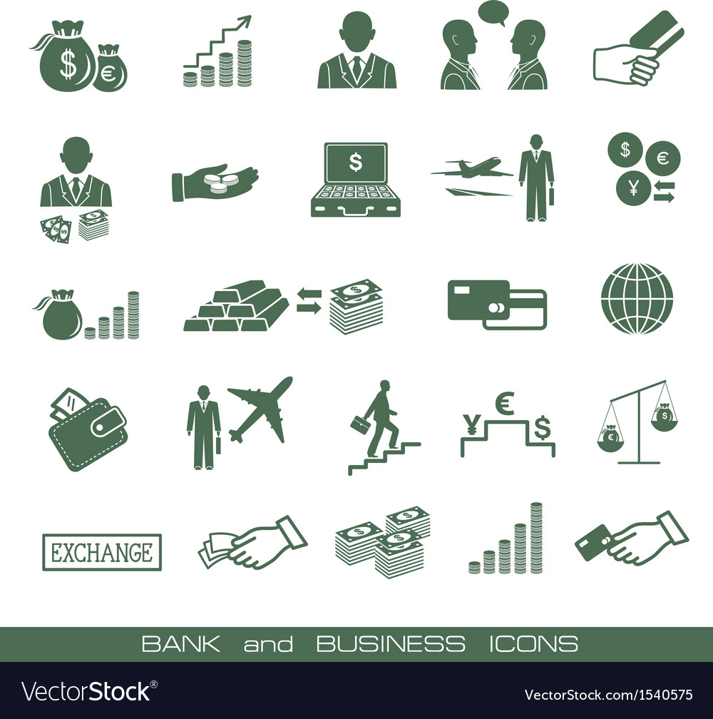 Banking icons set vector | Price: 1 Credit (USD $1)