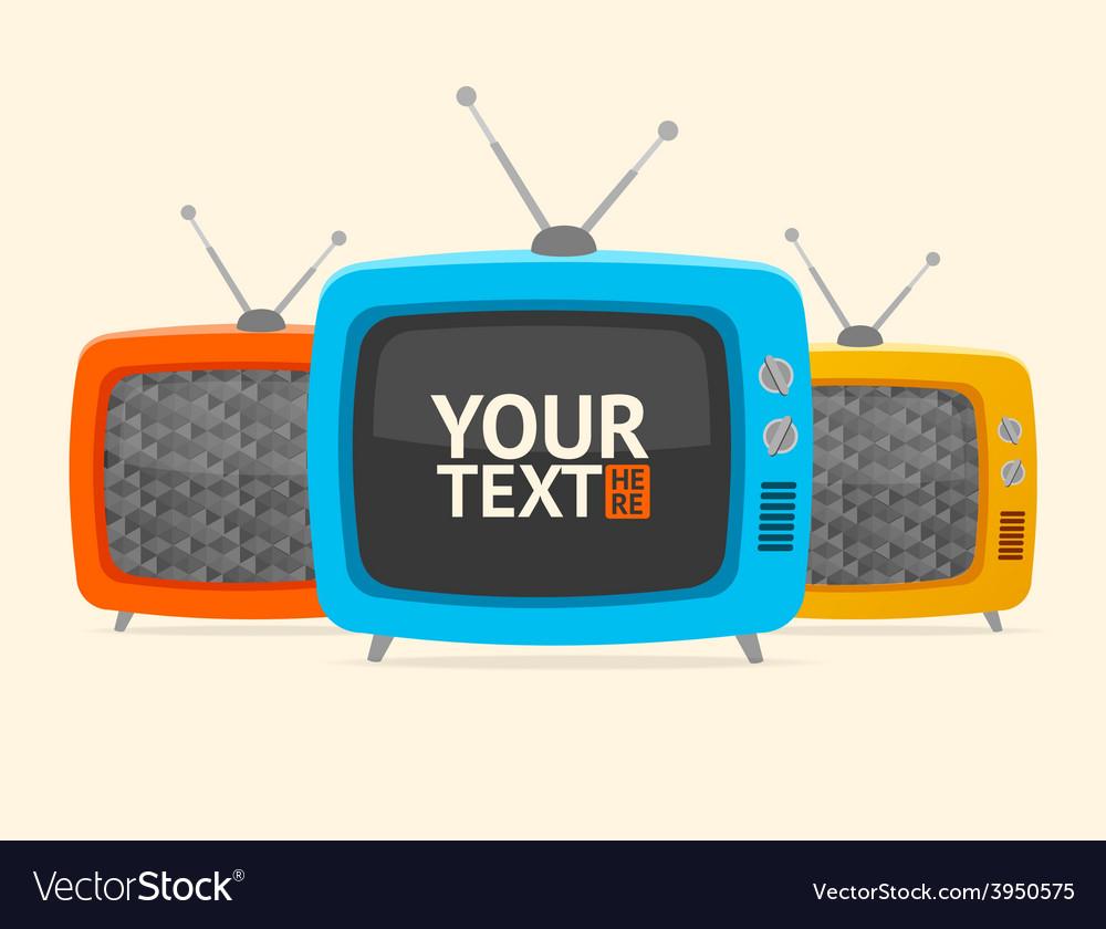 Banner retro tv flat design vector | Price: 1 Credit (USD $1)