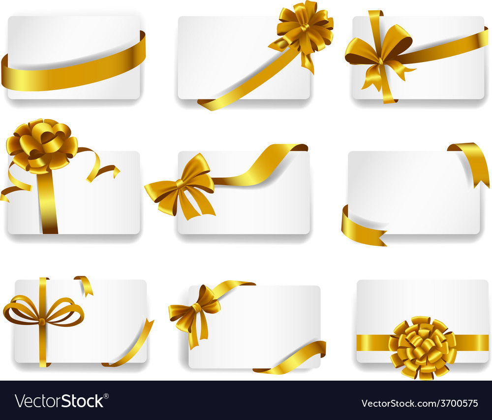 Beautiful cards with gold bows vector | Price: 1 Credit (USD $1)