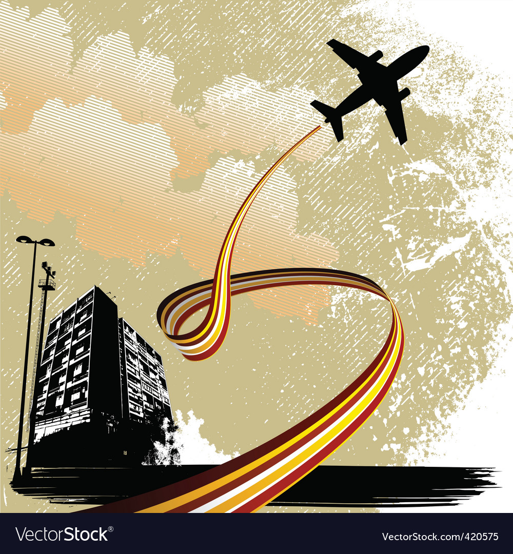City with airplane vector   Price: 1 Credit (USD $1)