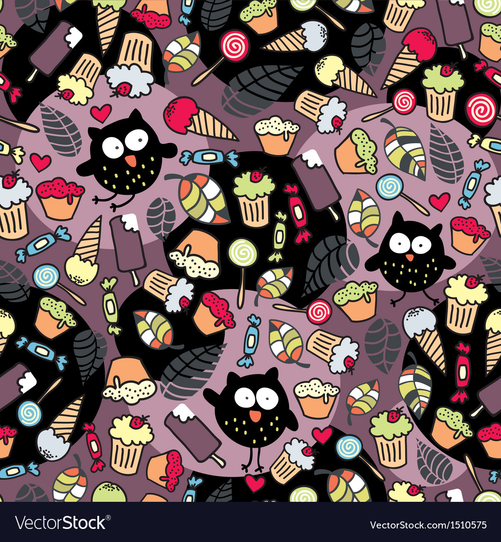 Crazy owls and some tasty things vector | Price: 1 Credit (USD $1)