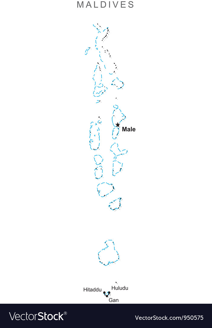 Maldives black white map with major cities vector | Price: 1 Credit (USD $1)