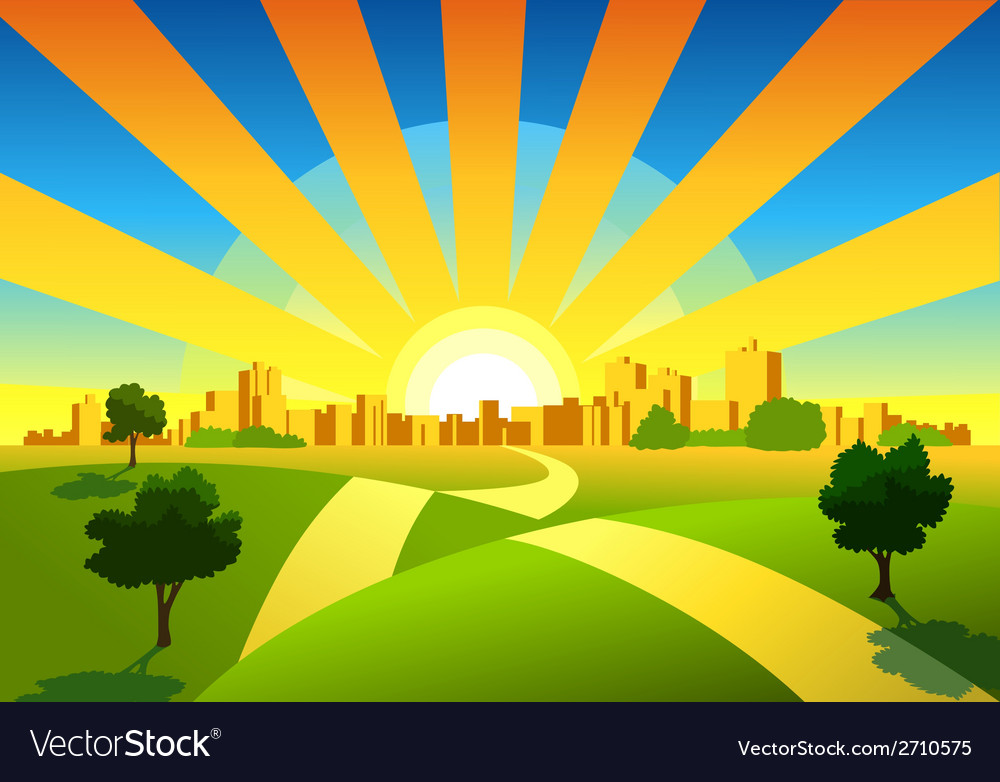 Morning city background vector | Price: 1 Credit (USD $1)