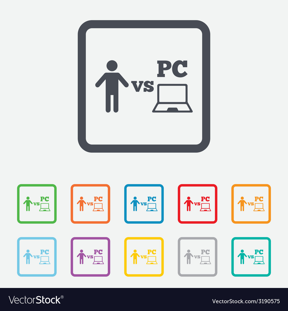 Player vs pc sign icon games symbol vector | Price: 1 Credit (USD $1)