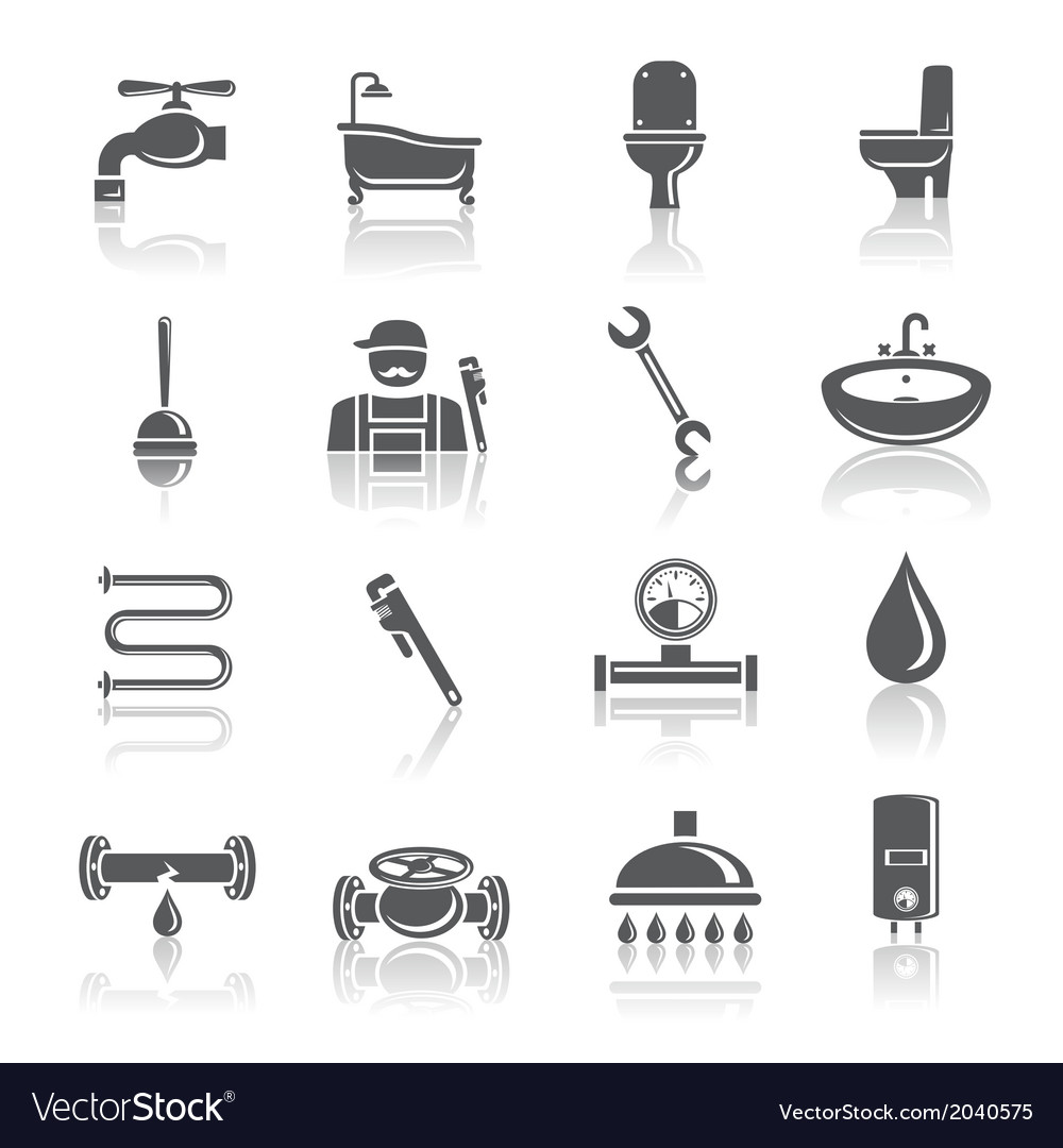Plumbing tools pictograms set vector   Price: 1 Credit (USD $1)
