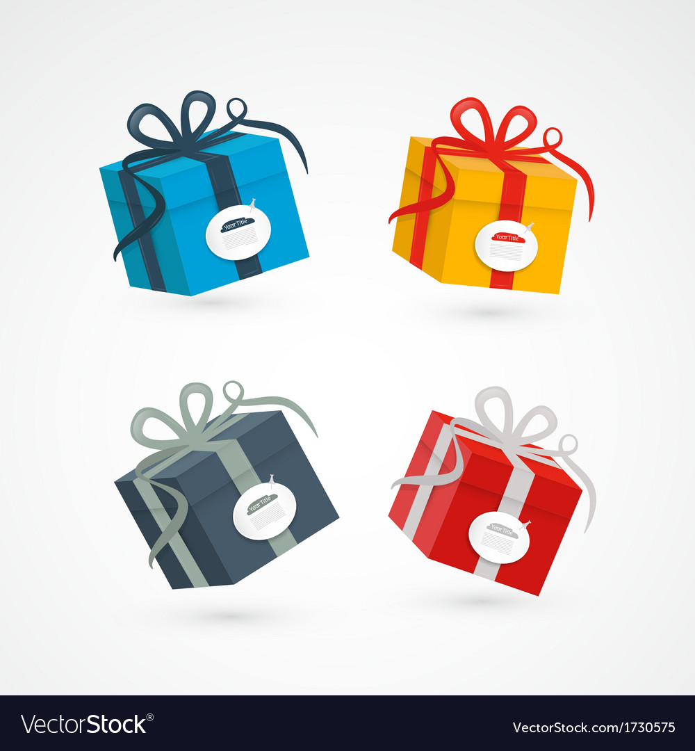 Present box gift box set vector | Price: 1 Credit (USD $1)
