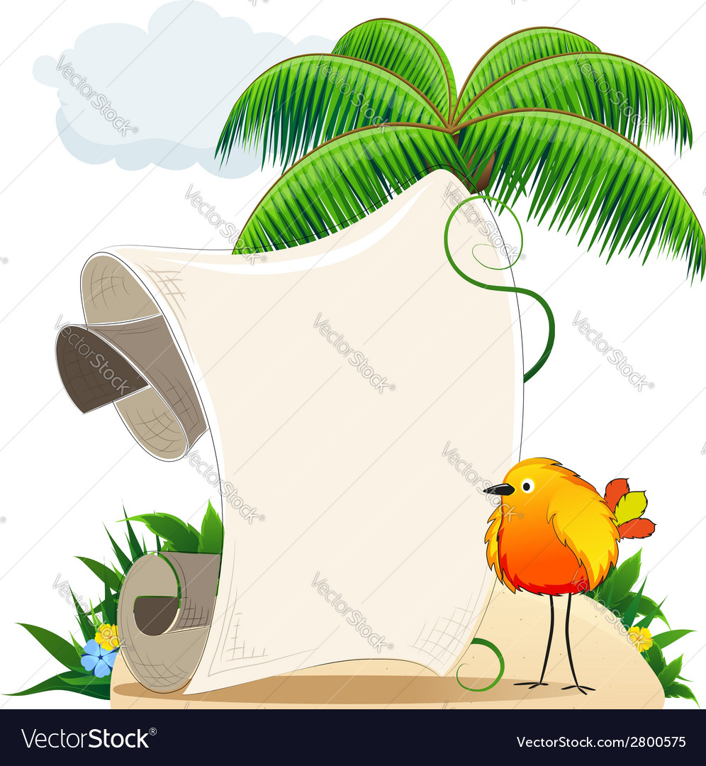 Tropical island with bird and scroll for text vector | Price: 1 Credit (USD $1)