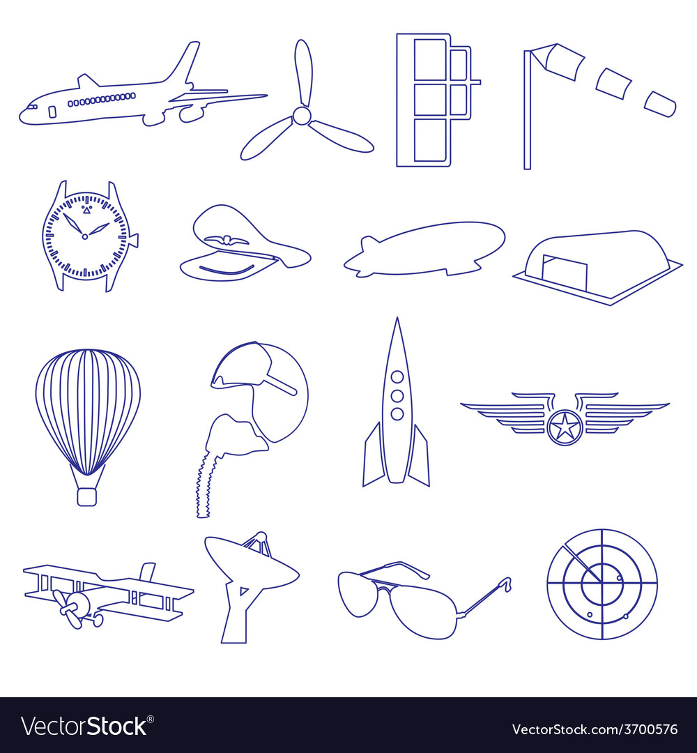 Blue aeronautical and aviation outline icons set vector | Price: 1 Credit (USD $1)