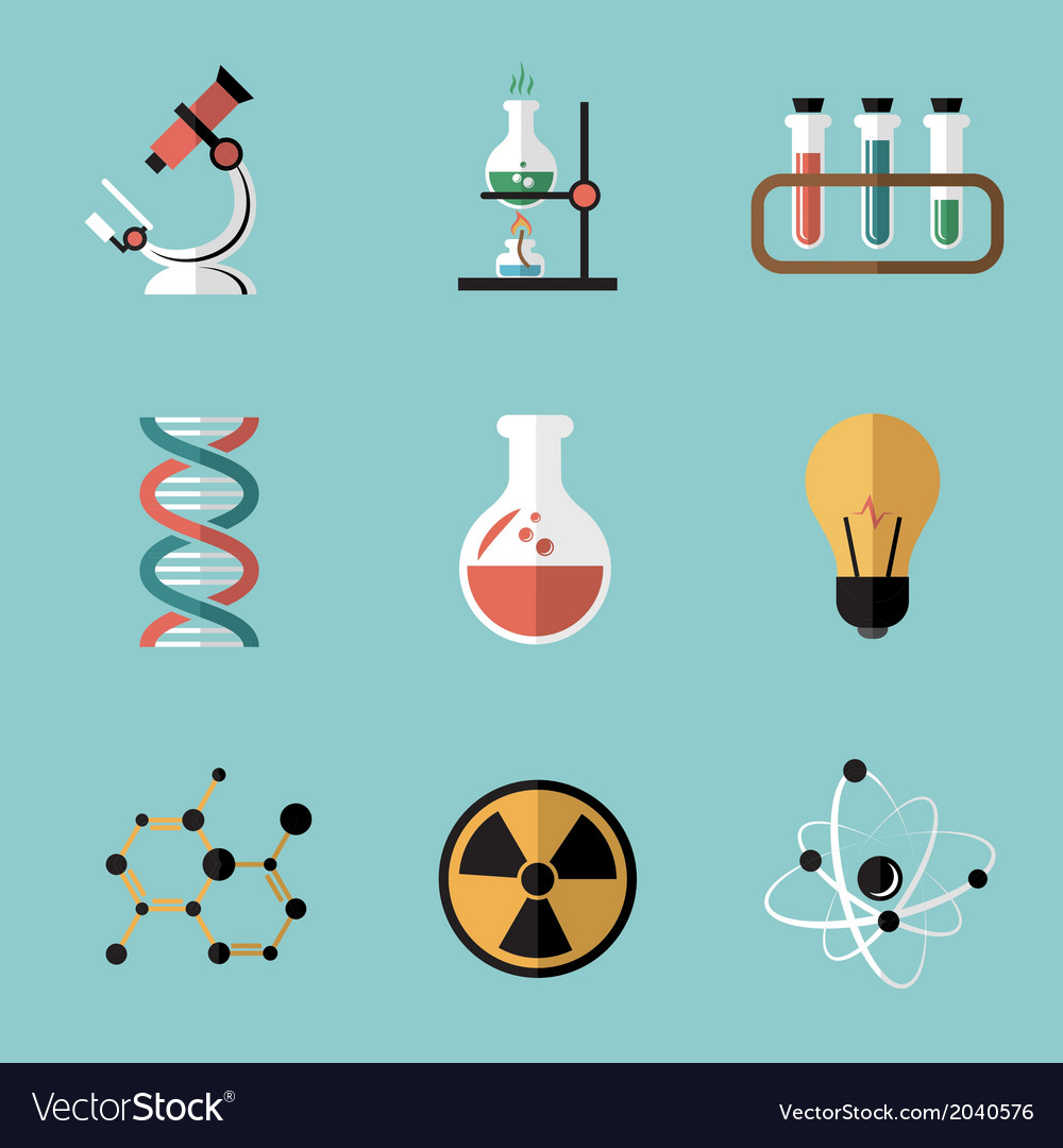 Chemistry science flat icons set vector   Price: 1 Credit (USD $1)