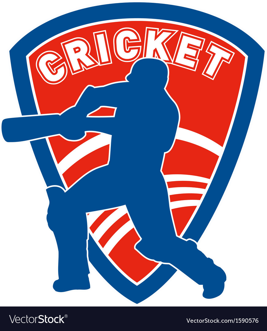 Cricket player batsman batting shield vector | Price: 1 Credit (USD $1)