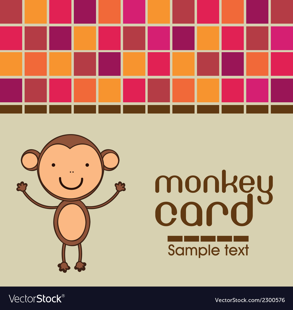 Cute monkey card vector | Price: 1 Credit (USD $1)