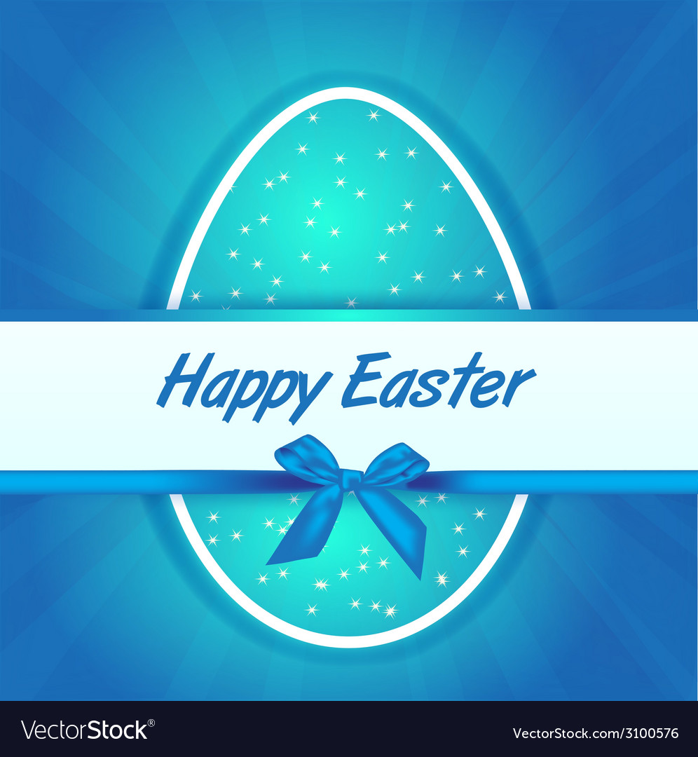 Easter blue egg gift card vector | Price: 1 Credit (USD $1)