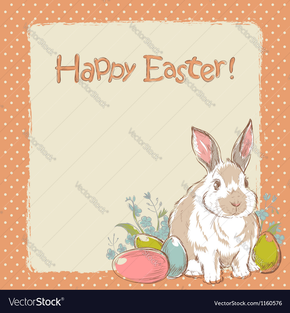 Easter bunny retro card with hand drawn flowers vector | Price: 1 Credit (USD $1)